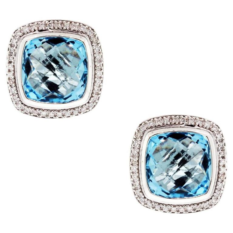David Yurman Albion Diamond Blue Topaz Earrings 1
