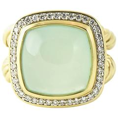 David Yurman Large Aqua Chalcedony Diamond Albion Gold Cocktail Ring