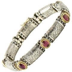 Konstantino Classic Collection Pink Tourmaline, Silver and Gold Link Bracelet