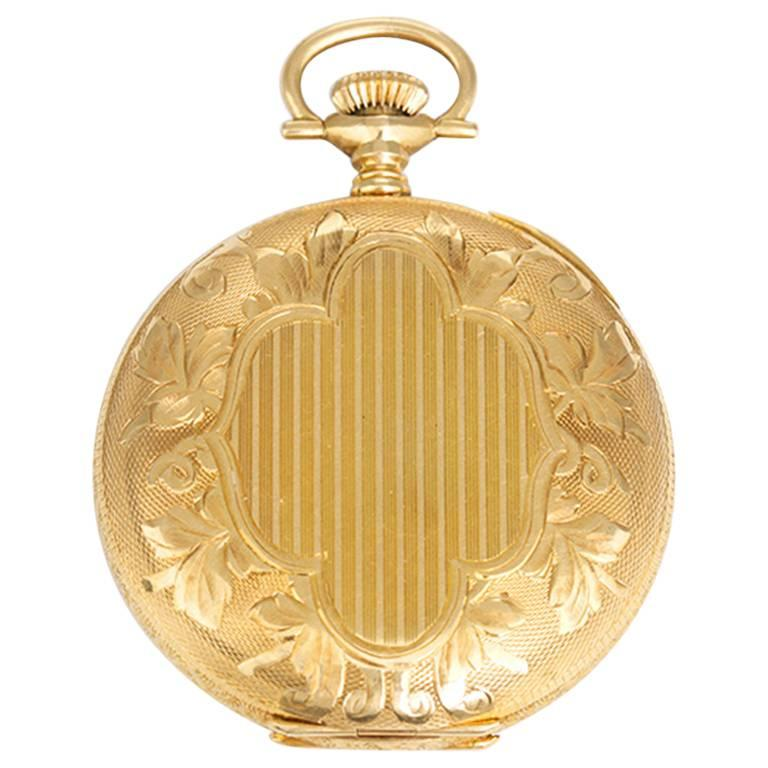 Hampden Yellow Gold Engraved Hunting Case Manual winding Pocket Wristwatch