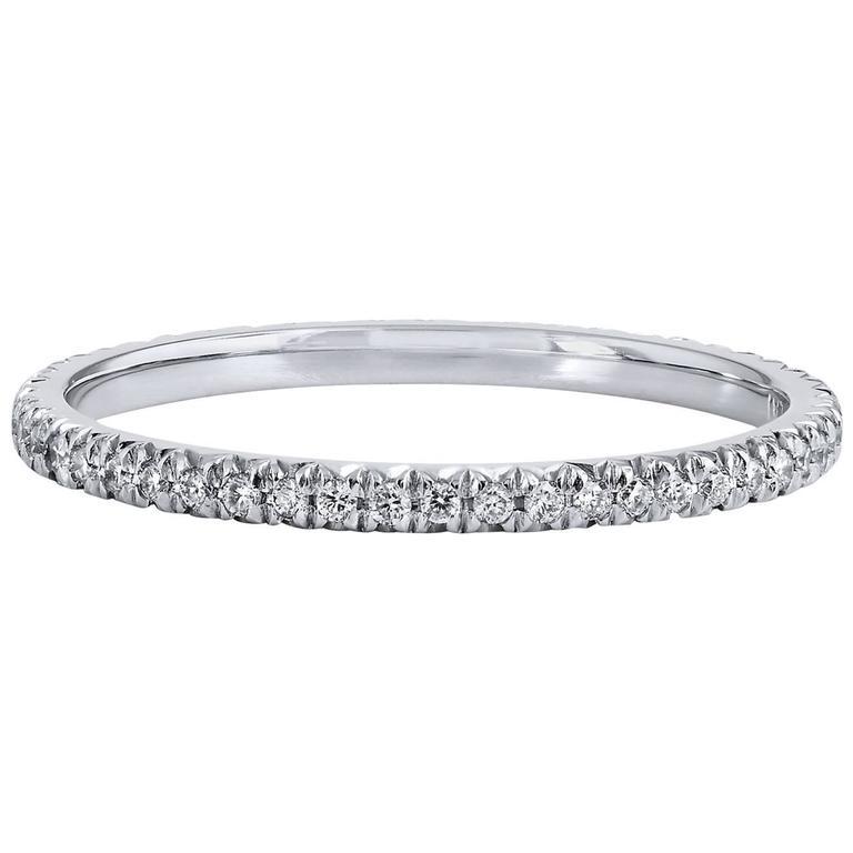 0.22 Carat Diamond 18 Karat Palladium Eternity Band Ring 1