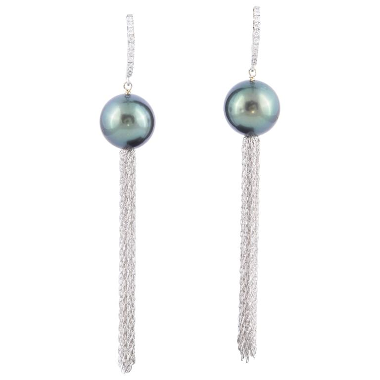 Tahitian Pearl Diamond Lever Back Dangle Earrings