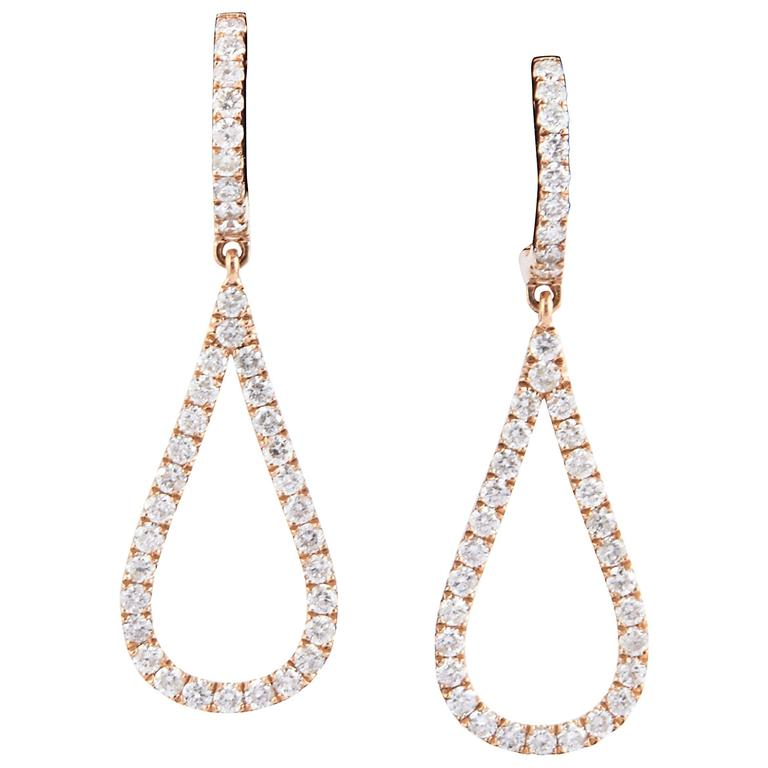 Tear Drop Shape Diamond Rose Gold Earrings