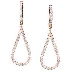 Tear Drop Shape Diamond Rose Gold Earrings
