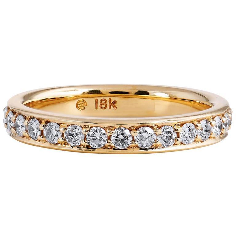 0.67 Carat Diamond 18 Karat Yellow Gold Band Ring