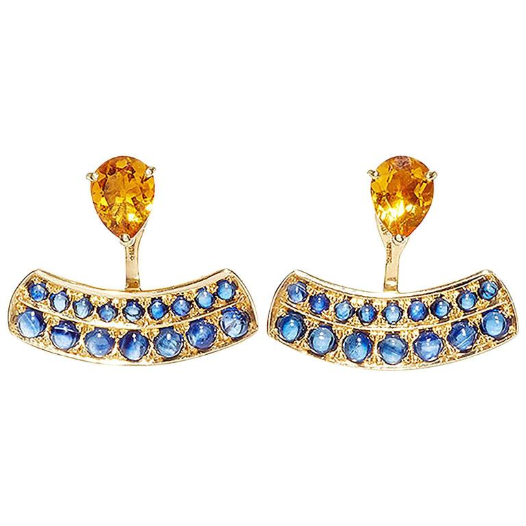 Dubini Theodora Citrine and Blue Sapphire Yellow Gold Earrings