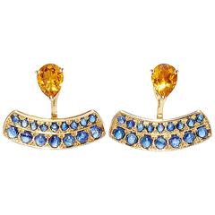 Dubini Theodora Citrine and Blue Sapphire 18K Yellow Gold Earrings