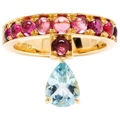 Dubini Theodora Aquamarine And Rubellite Tourmaline 18K Yellow Gold Ring