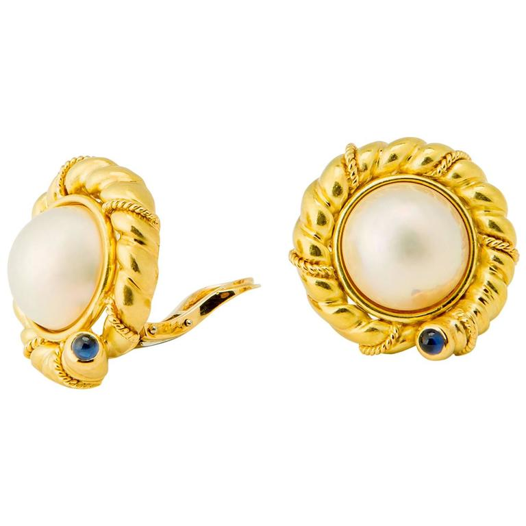 Tiffany & Co. Pearl and Sapphire Earrings