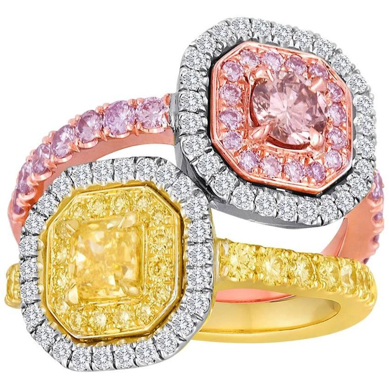 Pink and Yellow Diamond Toi Et Moi Ring Three Color Gold Fashion Cocktail Ring For Sale