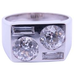 Art Deco Boivin Diamond Platinum Ring.