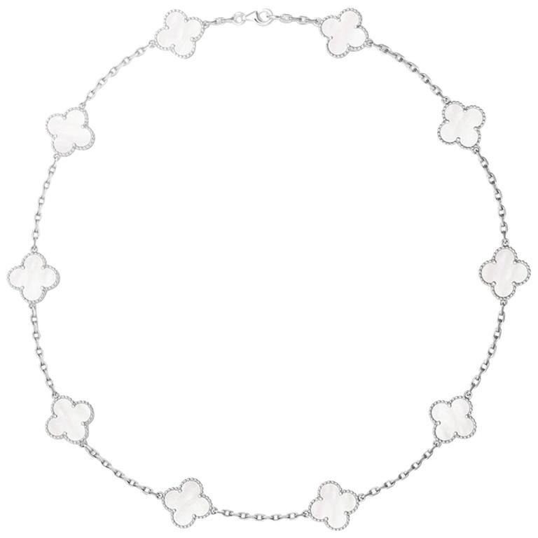 Vintage Van Cleef & Arpels Alhambra Necklace 10 Motifs Mother of Pearl