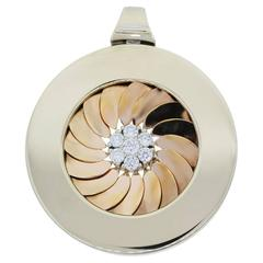 Roberto Coin Two Tone Cento Pendant With Floating Diamond