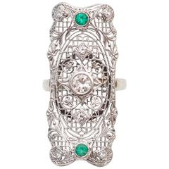 1940s Diamond and Emerald Filigree Shield Ring