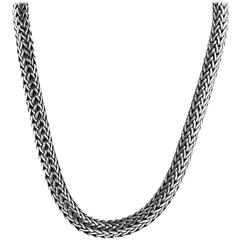 John Hardy Sterling Silver Yellow Gold Clasp Woven Chain Necklace