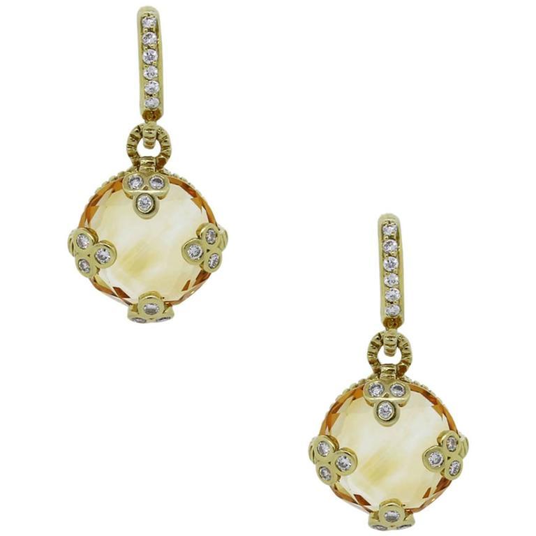 Judith Ripka Gold Citrine Diamond Earrings For