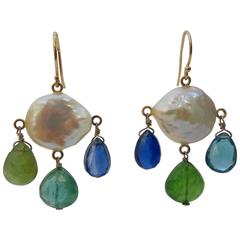 Marina J. Pearl Kyanite Iolite London Blue Topaz Tourmaline Gold Earrings