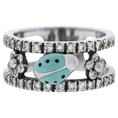 Aaron Basha 18k White Gold and Diamond Ladybug Ring