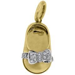Aaron Basha 18K Yellow Gold Diamond Baby Shoe Charm