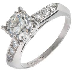 .90 Carat Transitional Cut Diamond Platinum Engagement Ring