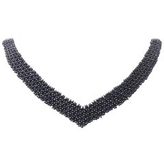 "Marina J Woven Black Pearl ""V"" shaped Necklace with Unique 14K Yellow Gold Clasp"