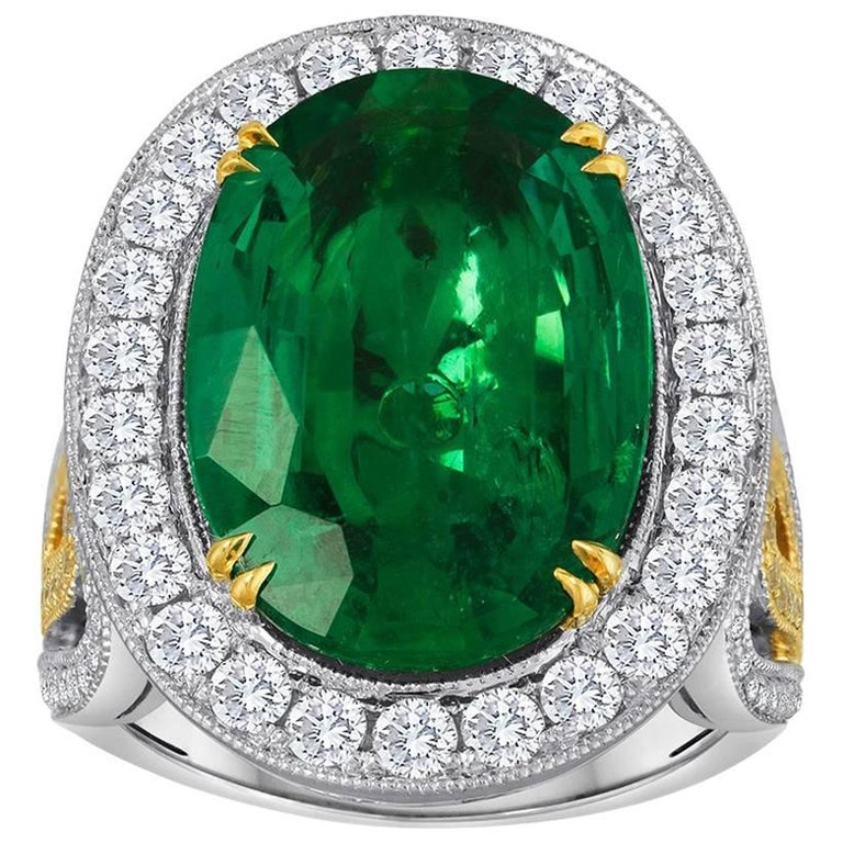 GIA Certified 9.01 Carat Oval Emerald Diamond Two Color Gold Ring For Sale