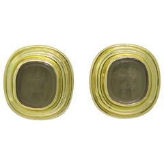 Elizabeth Locke Gold Venetian Glass Intaglio Earrings