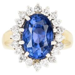 GIA Certified 6.16 Carat Untreated Sapphire Diamond Ring