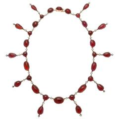 Stunning Victorian Garnet Diamond Gold Necklace