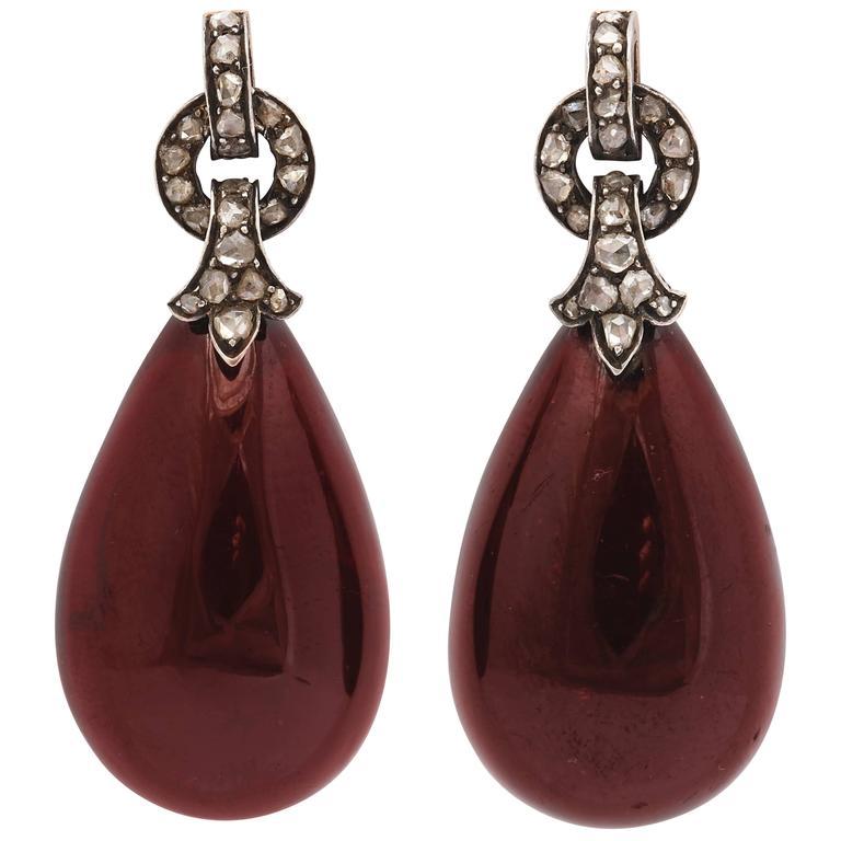 Stunning Garnet and Diamond Victorian Drop Earrings