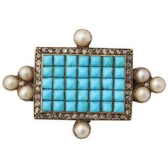 Antique Victorian Persian Turquoise Natural Pearl Diamond Brooch