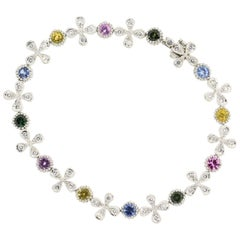 Cathy Waterman Diamond and Colored Sapphire Platinum Bracelet