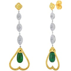 Emerald Diamond Two-Color Gold Dangle Earring