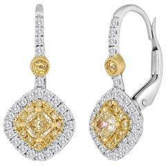 Fancy Yellow and Diamond Two-Color Gold Double Halo Earring