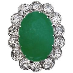 1920s Natural Jade  Diamond Cluster Ring