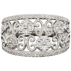 White Gold Diamond Flower Butterfly Scroll Band Ring