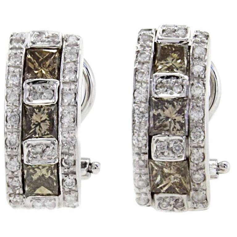 Diamond & Fancy Diamond Exagon Gold  Earrings