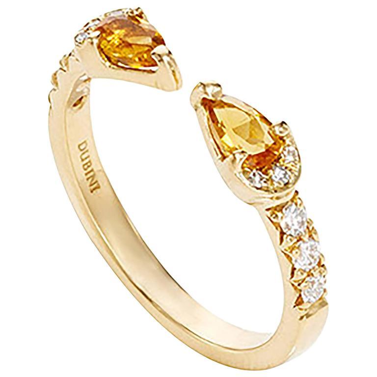 Dubini Theodora Citrine Drops And White Diamonds Yellow Gold Ring