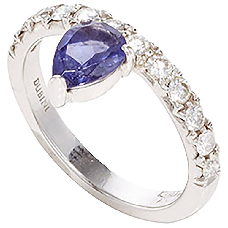 Dubini Theodora Iolite And Diamonds White Gold Ring