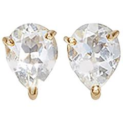 Dubini Theodora White Topaz 18K Yellow Gold Stud Earrings