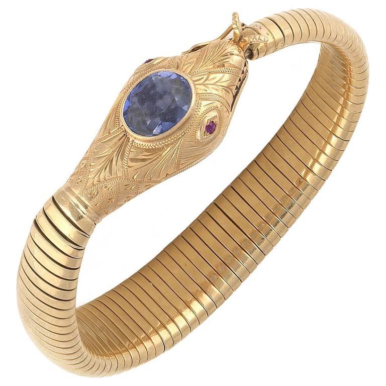 1950's Blue Topaz Ruby Yellow Gold Flexible Snake Bracelet