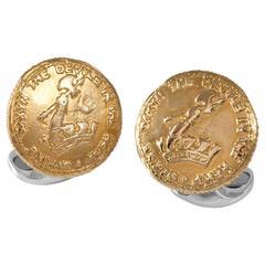 Deakin & Francis Sterling Silver 230 Coin D&F Crest Cufflinks