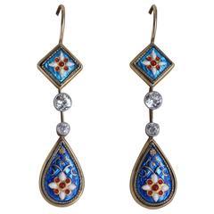 Antique Bresse Enamel Diamond Gold Earrings