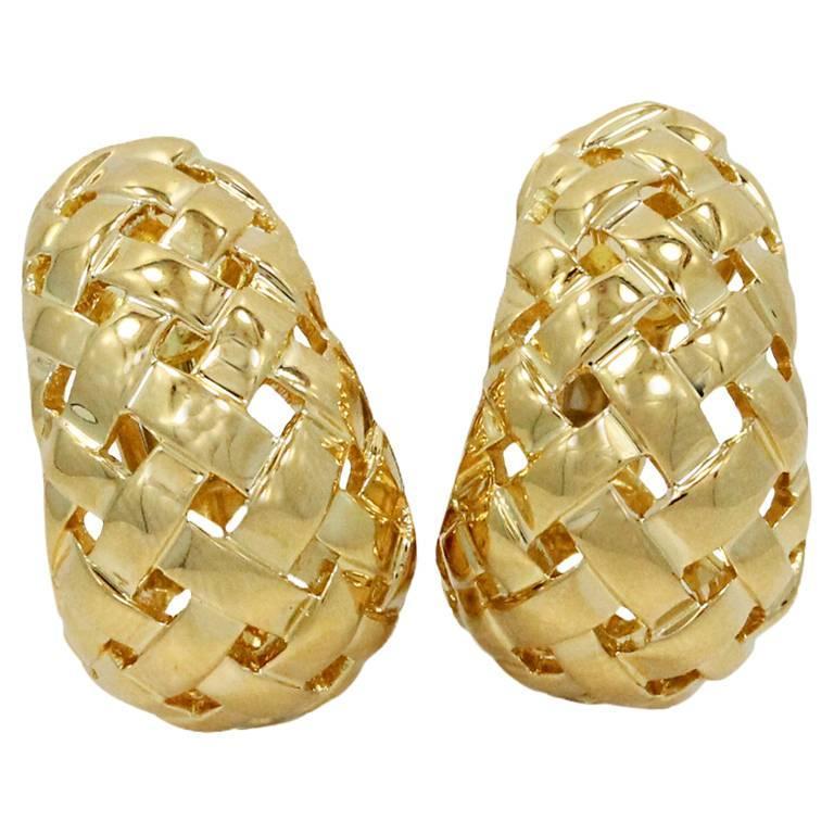 Tiffany & Co. Woven Gold Basket Earrings For Sale