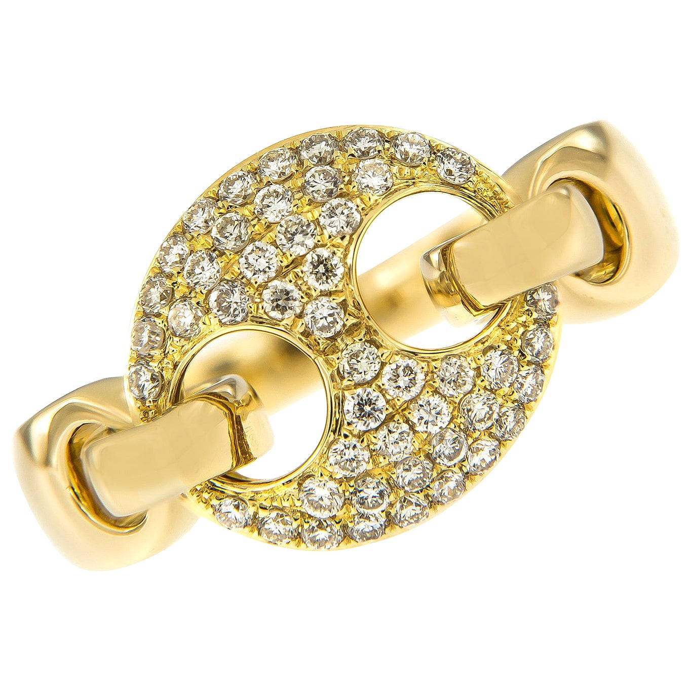 Gucci Style Link Diamond and 18 Karat Yellow Gold Fashion Ring