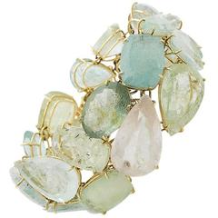 Green Beryl Aquamarine Morganite Yellow Gold Cuff Bracelet