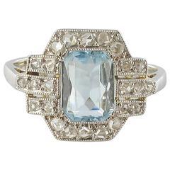 French Art Deco Aquamarine and Diamond Ring
