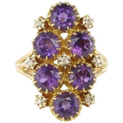 French 1960s Amethyst and Diamond Cocktail Ring