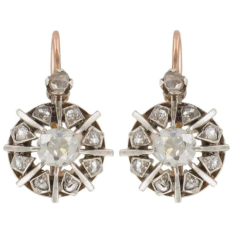 19th Century Rose Gold and Diamond Drop Earrings