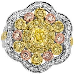 Natural Fancy Yellow Pink and White Diamond Three Color Gold Cocktail Ring